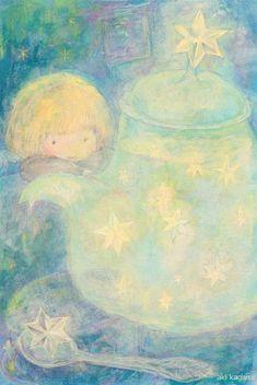 第二回「星のイラストコンテスト」 佳作作品ハガキ/アクリル/色鉛筆天使が星のティータイム中。煮出しているのを待っています。星の砂糖と一緒に。***ブログでアッ…