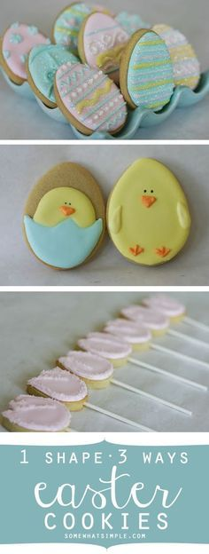 These easter cookies are GORGEOUS! And such a clever idea- 3 different cookies with 1 cookie cutter shape!