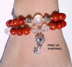 Conjunto de 2 pulseras Rojas de piedras semi por MJewelryStore