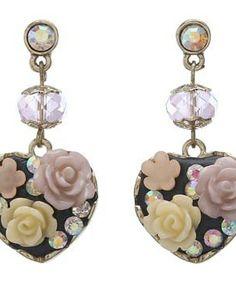 Betsey Johnson Fabulous Flowers Heart Drop Earrings #accessories  #jewelry  #earrings  https://www.heeyy.com/suggests/betsey-johnson-fabulous-flowers-heart-drop-earrings-multi/