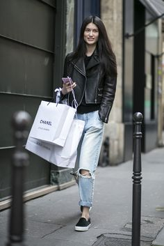 moto & Chanel swag. #SuiHe #offduty in Paris.