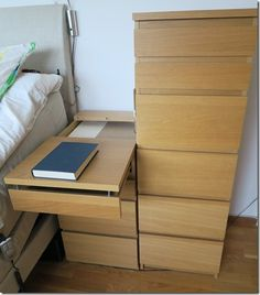 A problem with adjustable beds is to reach anything placed on a bedside table so a solution was to make an extendable bedside table built from a MALM drawer