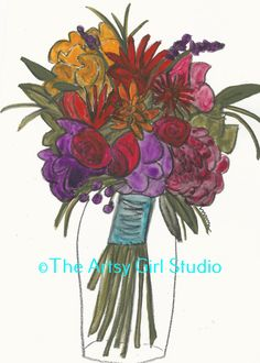 Floral bouquet - Art print in 3 sizes by TheArtsyGirlStudio on Etsy