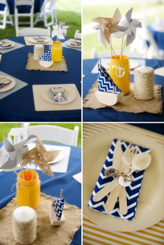 Nautical Themed Birthday Party - I like the chevron navy napkins, with burlap and navy tablecloths, with pops of yellow.