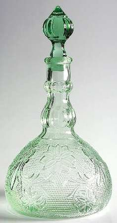 Decanter in the Sandwich-Green pattern by Indiana Glass