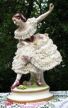 Large Volkstedt Dresden porcelain lace ballerina figurine