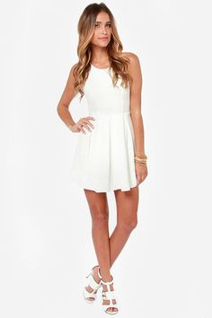 Sexy Ivory Dress - Backless Dress - Skater Dress - $45.00