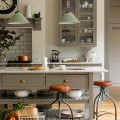 "Ideal Home on Instagram: ""OBSESSED with this gorgeous kitchen! From the island, to the stools, to the light fittings, there is nothing we don't love. The perfect…"""