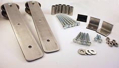 industrial brushed steel sliding barn door hardware by ABAHardware Sliding Barn Door Hardware, Sliding Doors, Farmhouse Addition, Rustic Hardware, Interior Barn Doors, Diy Door, Double Doors, Industrial Style, Stainless Steel