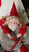 Vintage Celluloid Santa Face Mesh Bag Christmas Candy Container