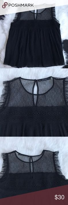 Zara black lace detail top. Black lace top with pleating details. Looks cute with black jeans & heels. Zara Tops Blouses