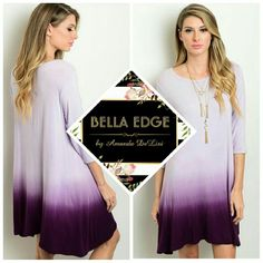 Lilac purple ombre dress *SHIPS TUESDAY 100% POLYESTER. Made in the USA. This gorgeous & eye catching dress features stylish ombre print in hues of purple, half sleeves and a flowy relaxed fit you'll love. Sizes S/M and M/L.  *Coming soon Bella Edge Boutique  Dresses