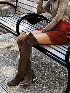Carlisle Suede Over the Knee Boot | Rugged over-the-knee soft suede boots featuring an exposed back zip.