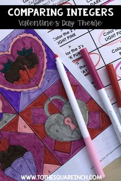 Comparing Integers Valentines Day color and solve activity 7th Grade Math, Integers, Elementary Math, 3 Things, Colorful Pictures, Math Activities, Light Colors, Middle School, Valentines