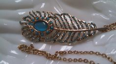 Peacock Feather Necklace in Teal Blue and Gold by MICSJEWELSGALORE