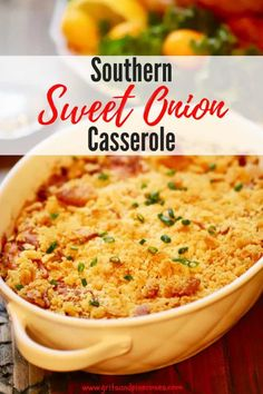 Southern Sweet Onion Casserole Recipe Easy Southern Sweet Onion Casserole is the best Thanksgiving side dish recipe ever, with sweet caramelized onions, (Vidalia are best) buttery Ritz crackers, sour cream, and a baked cheesy crust! Side Dishes For Ham, Vegetable Side Dishes, Side Dish Recipes, Vegetable Recipes, Southern Side Dishes, Easy Recipes, Dinner Recipes, Best Side Dishes, Onion Casserole