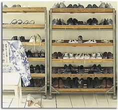 Pallet shoe storage, I have nowhere near this amount of shoes, however I would make the lower levels higher for boots in the winter and add a tray for water.