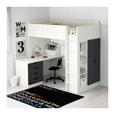 stuva combi lit mezz 4 tir 2 ptes blanc noir lits superpos s lits et portes. Black Bedroom Furniture Sets. Home Design Ideas
