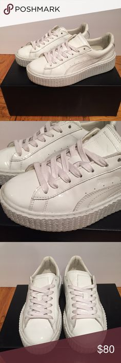 Puma Fenty Creeper White Patent Leather Rihanna Puma Fenty By Rihanna Basket Creepers White Patent Leather Size US 6  Comes with the velvet dust bag and extra set of laces.   These sold out when released and hard to find. Worn gently twice, kept in great condition. Shows minor signs of wear, plenty of life left. Get these for a deal!  Check out my other listings, me and my wife are cleaning out our closets! Send offers! Puma Shoes Sneakers