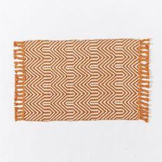 Wave Jute Rug, 2'x3', Ivory/Neon Orange