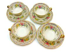 Rosenthal Ivory Bavaria Footed Cups & Saucers - Set of 4 - Evelyn Pattern No. 2778 - Vintage Fine China Made in Germany 1930s by EitherOrFinds on Etsy