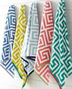 Garnet Hill Greek Key Towels - Aqua