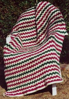 Flame Stitch Afghan Knitting Pattern
