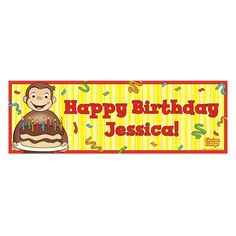 Curious George Happy Birthday Banner from PBS Kids Shop. Noah says he wants to have a George Birthday!!!! lol