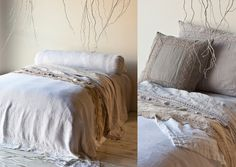 Homespun Coverlet in White, Linen with Crochet Lace Sheets in Sand and Pebble, Linen Fitted Sheet in Pebble, Homespun Deluxe Sham in Pebble, Homespun Throw Pillow in Flax