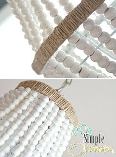 32 Lovely and Easy DIY Chandelier Ideas You Should Try - how to make this adorable beaded chandelier 32 Lovely and Easy DIY Chandelier Ideas You Should Try - how to make this adorable beaded chandelier Wood Bead Chandelier, Chandelier Ideas, Chandelier Makeover, Empire Chandelier, Pendant Lamps, Pendant Lights, Diy Luminaire, Pottery Barn Inspired, Creation Couture