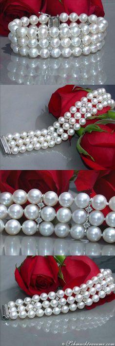 Gorgeous Cultured Pearl Bracelet with Diamonds (.95 ct. G-SI) - Visit: schmucktraeume.com Mail: info[at]schmucktraeume.com