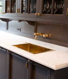 Wet Bar Inspiration   I Like The Black Cabinets, Brass Faucet And Sink And  Hardware