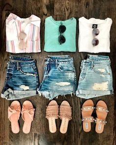 Summer shorts outfits, summer outfits for teens, summer clothes, spring out Short Outfits, Casual Outfits, Cute Outfits, Fashion Outfits, Casual Clothes, Woman Outfits, Women's Clothes, Fashion Clothes, Fashion Rings