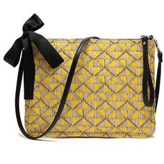 Yellow Woven Clutch Handbag (€20) ❤ liked on Polyvore featuring bags, handbags, clutches, yellow handbags, yellow purse, party clutches, summer totes and yellow clutches