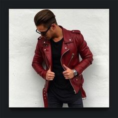 • r e d - l e a t h e r • #red #leather #mensfashion Men who dare to have a point of difference