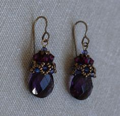 Beaded Earrings Tutorial - Beaded Cup Earrings - Swarovski Earrings - PDF pattern