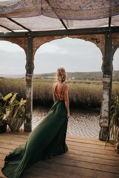Planning a boho-chic wedding and looking for inspiration? This South African celebration is filled with relaxed and laid-back ideas. Green Wedding Dresses, Emerald Green Dresses, Traditional Gowns, Traditional Wedding Dresses, Olive Green Weddings, Bridal Portrait Poses, South African Weddings, Green Gown, Bridal Pictures