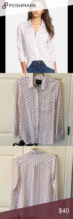 Rails Rocsi Floral Print Button Front Shirt NWOT Super cute button down shirt. Super soft!  I bought this and just haven't worn. No flaws. Rails Tops Button Down Shirts