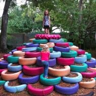 painted tires, tire mountain