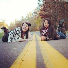 Bekah and I! Cool idea for our photo shoot!@Rebekah Ahn Ahn Ahn Gorman