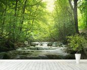 Enchanting Forest waterfall mural wallpaper in-room view