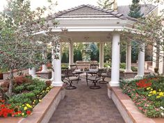 This beautiful eight-sided pavilion, designed by landscape architect Keith Anderson, is the focal point of a European-style garden.
