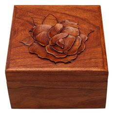 Wood Jewelry Box  Keepsake Box Cherry with Rose by ClassicWoodArts