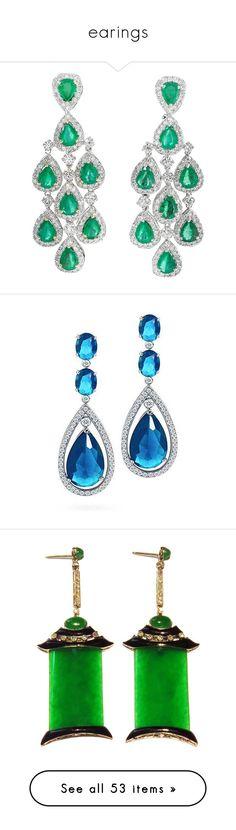 """earings"" by thesassystewart on Polyvore featuring jewelry, earrings, chandelier earrings, gold earrings, 18k gold earrings, diamond earrings, long gold earrings, blue, dangle earrings and blue dangle earrings"