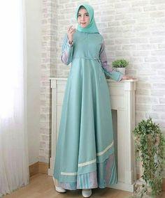 Party Gamis Models For Fat Women Modern Hijab Fashion, Batik Fashion, Abaya Fashion, Hijab Style Dress, Dress Outfits, Modest Dresses, Simple Dresses, Dress Batik Kombinasi, Batik Muslim