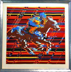 "Professionally framed Hermes scarf, ""Photo Finish"""