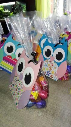 Sachet de bonbons hiboux pour anniversaire par Scrap& D'Co