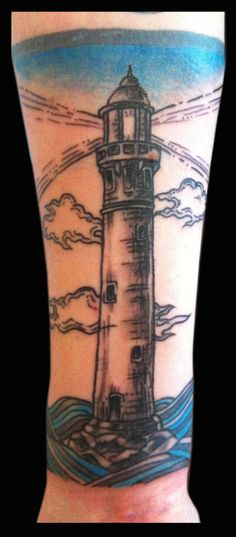 Lighthouse tattooed by Jude — at Damask Tattoo in Seattle, WA  lighthouse tattoo, light house tattoo