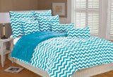 Teal Chevron Comforter Set | Marlo Lorenz 4892 Chevron Microplush Comforter Set, Clear Blue, Twin