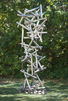 Gravity is a limited edition abstract sculpture by Jennifer Gilbert Asher & Mario Lopez Medium: powdercoated steel #terrasculpture #geometryinnature